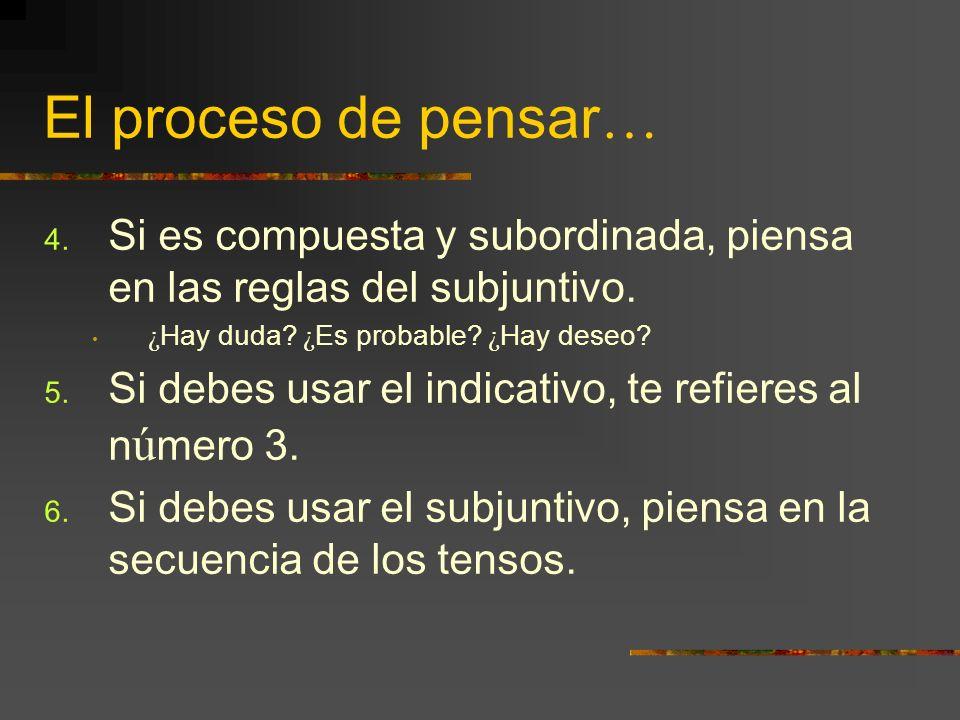 El proceso de pensar … 4. Si es compuesta y subordinada, piensa en las reglas del subjuntivo. ¿ Hay duda? ¿ Es probable? ¿ Hay deseo? 5. Si debes usar