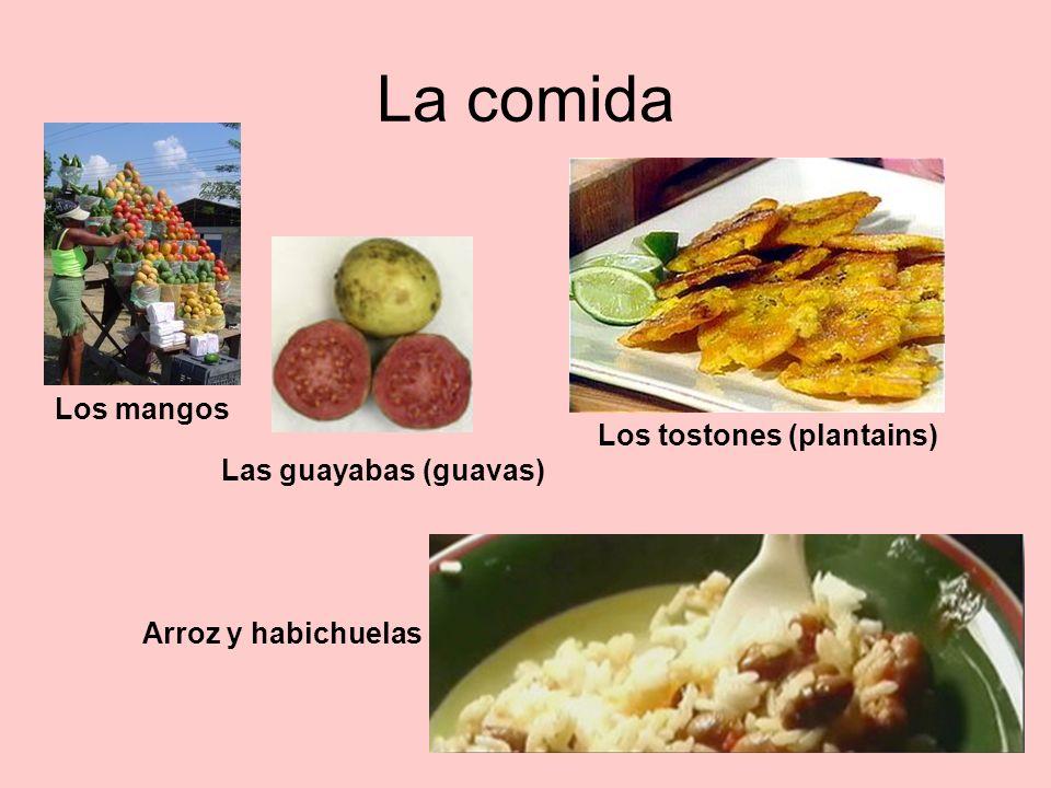 La comida Las guayabas (guavas) Los mangos Los tostones (plantains) Arroz y habichuelas