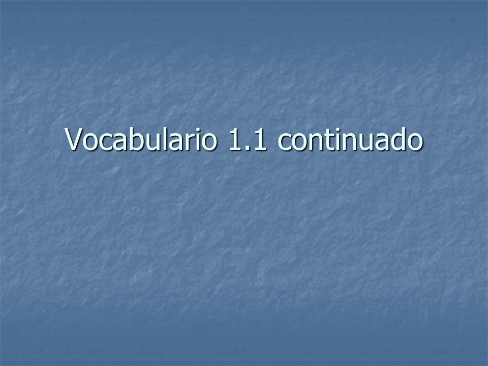 Vocabulario 1.1 continuado
