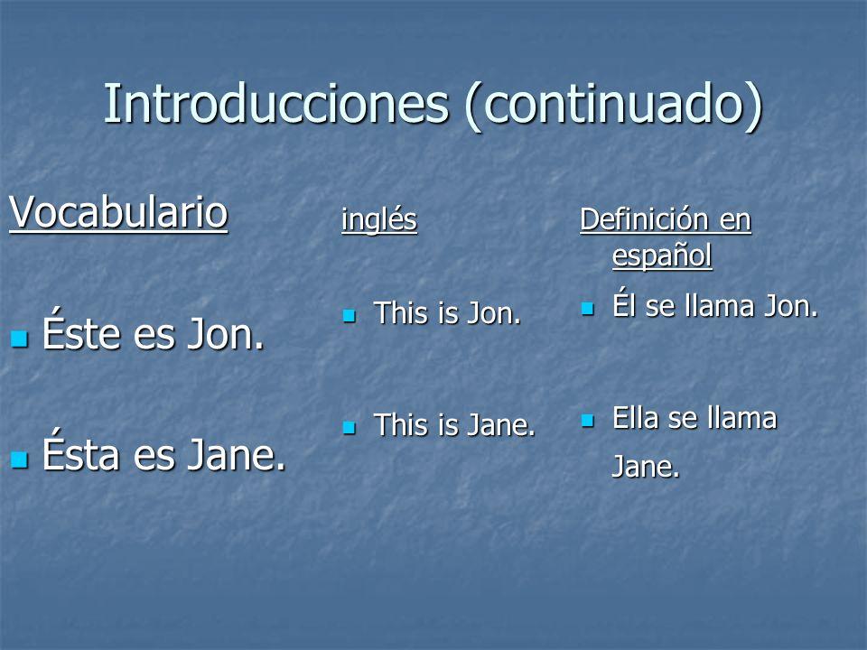 Introducciones (continuado) Vocabulario Éste es Jon. Éste es Jon. Ésta es Jane. Ésta es Jane. inglés This is Jon. This is Jon. This is Jane. This is J