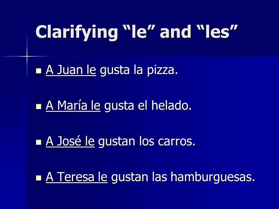 Clarifying le and les A Juan y a María les gusta la pizza.