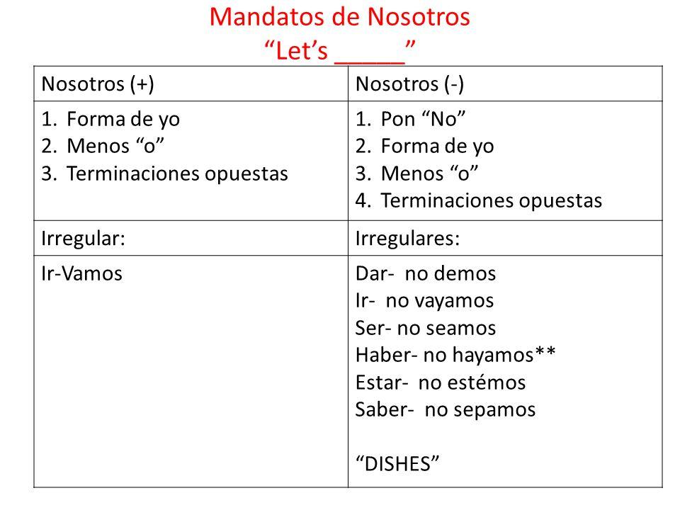 Mandatos de Nosotros Lets _____ Nosotros (+)Nosotros (-) 1.Forma de yo 2.Menos o 3.Terminaciones opuestas 1.Pon No 2.Forma de yo 3.Menos o 4.Terminaci