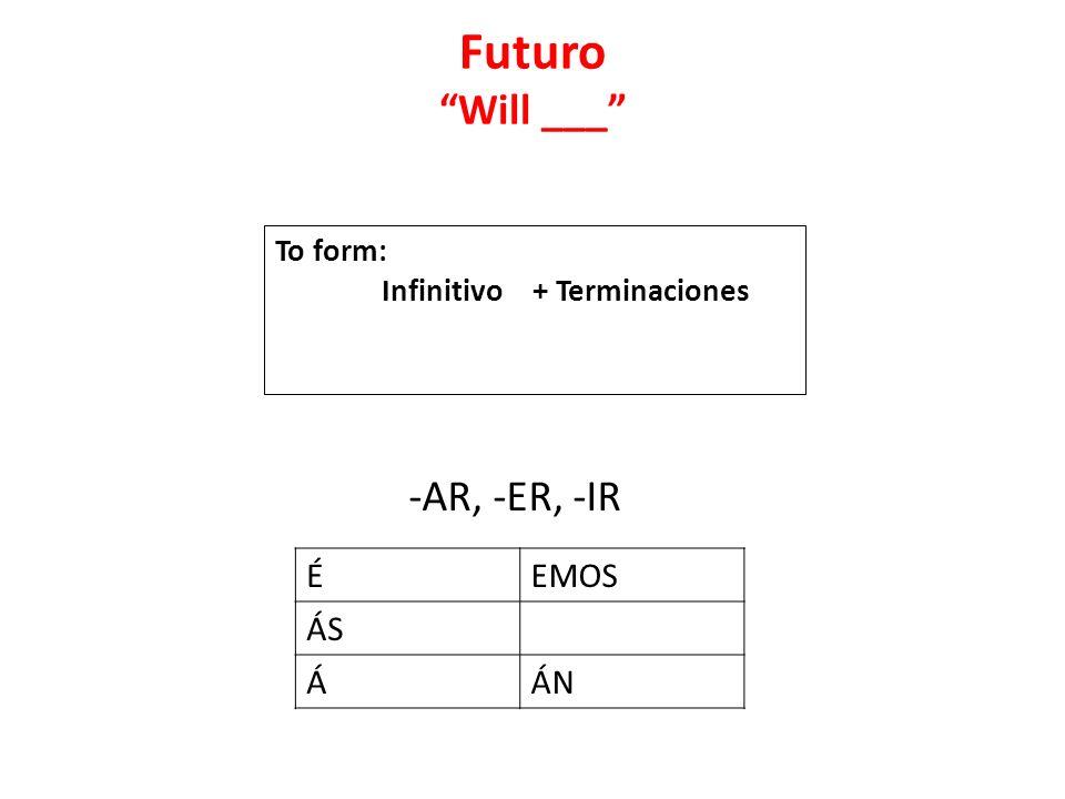 Futuro Will ___ -AR, -ER, -IR ÉEMOS ÁS ÁÁN To form: Infinitivo + Terminaciones