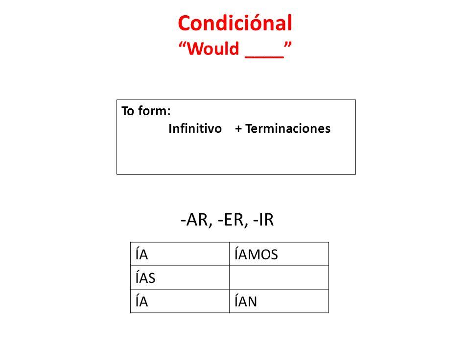 Condiciónal Would ____ -AR, -ER, -IR ÍAÍAMOS ÍAS ÍAÍAN To form: Infinitivo + Terminaciones