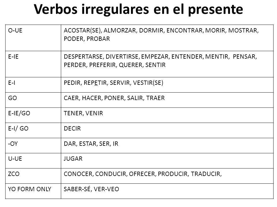Verbos irregulares en el presente O-UEACOSTAR(SE), ALMORZAR, DORMIR, ENCONTRAR, MORIR, MOSTRAR, PODER, PROBAR E-IEDESPERTARSE, DIVERTIRSE, EMPEZAR, EN