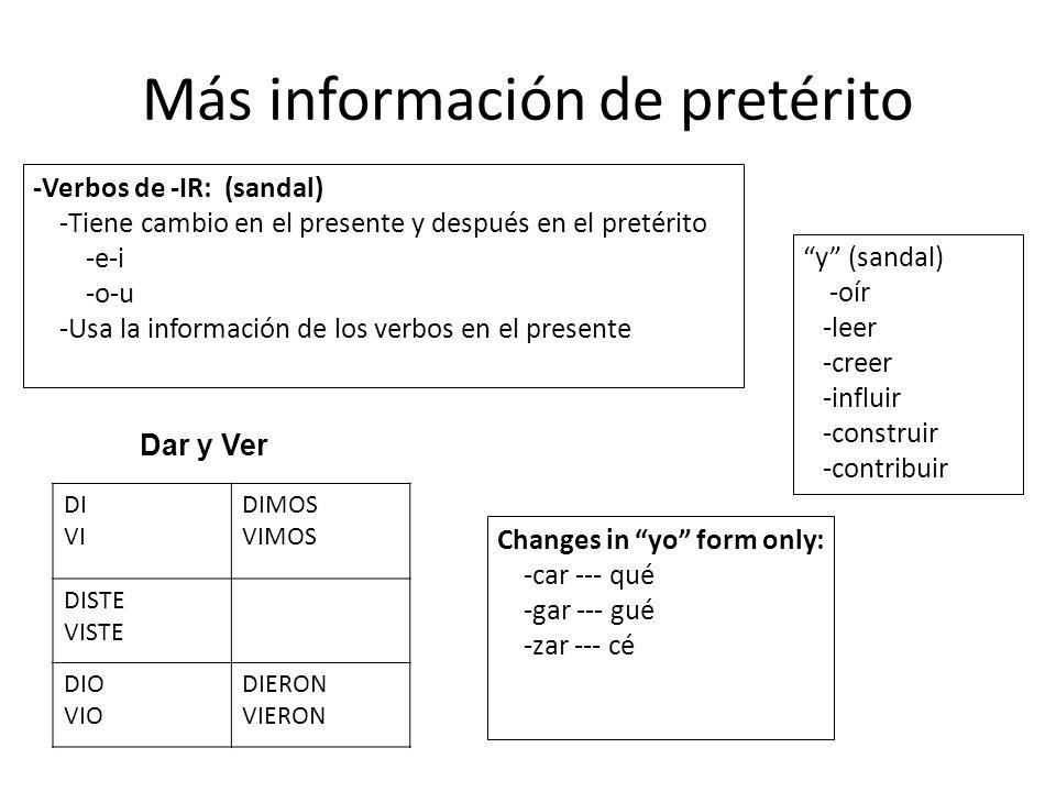 Más información de pretérito -Verbos de -IR: (sandal) -Tiene cambio en el presente y después en el pretérito -e-i -o-u -Usa la información de los verb