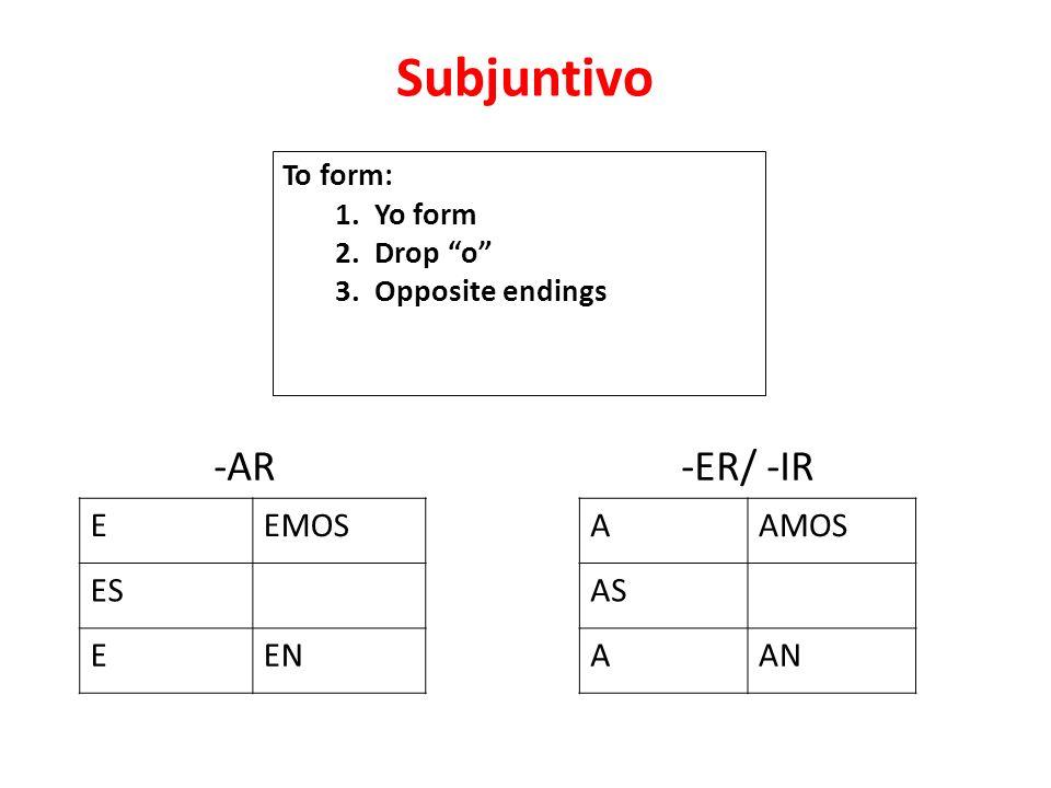 Subjuntivo EEMOS ES EEN -ER/ -IR AAMOS AS AAN -AR To form: 1. Yo form 2. Drop o 3. Opposite endings