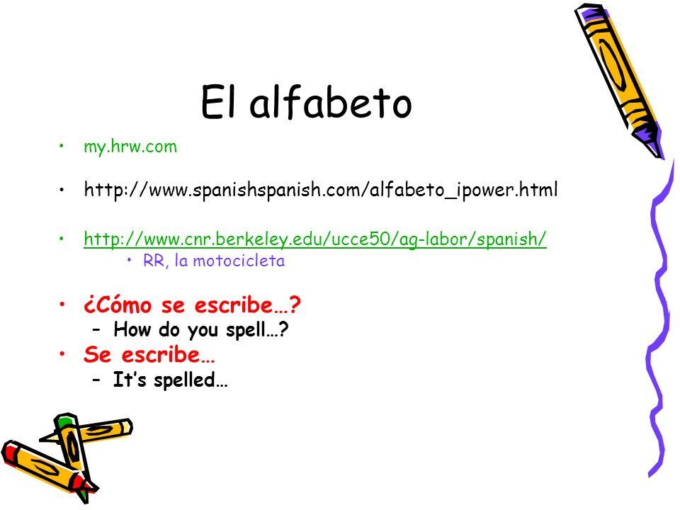 El alfabeto my.hrw.com http://www.spanishspanish.com/alfabeto_ipower.html http://www.cnr.berkeley.edu/ucce50/ag-labor/spanish/ RR, la motocicleta ¿Cóm