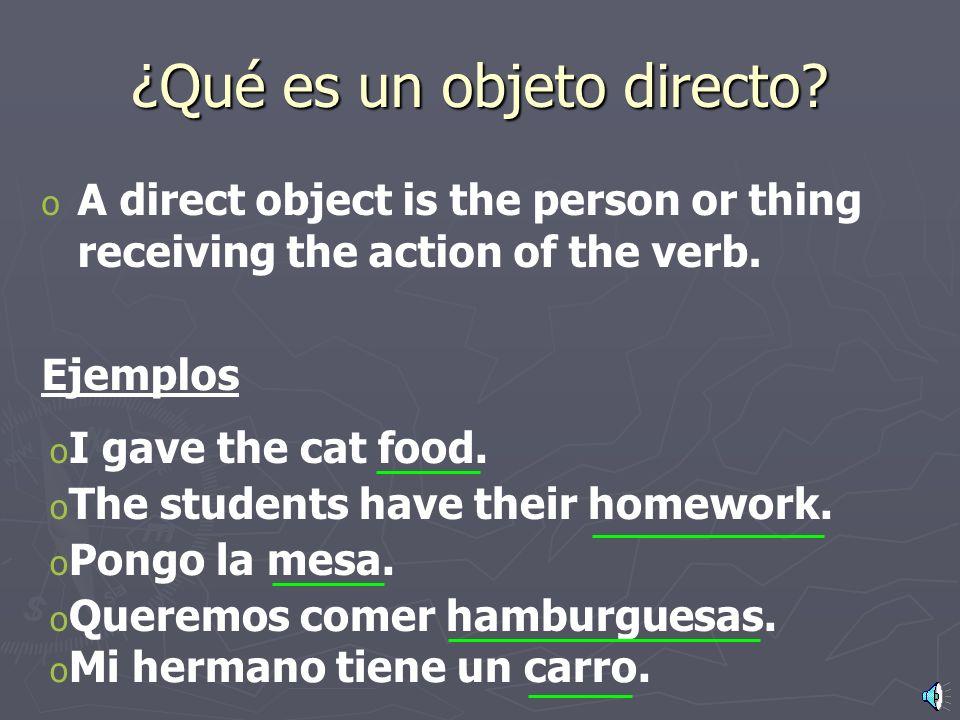 Los objetos directos página 212