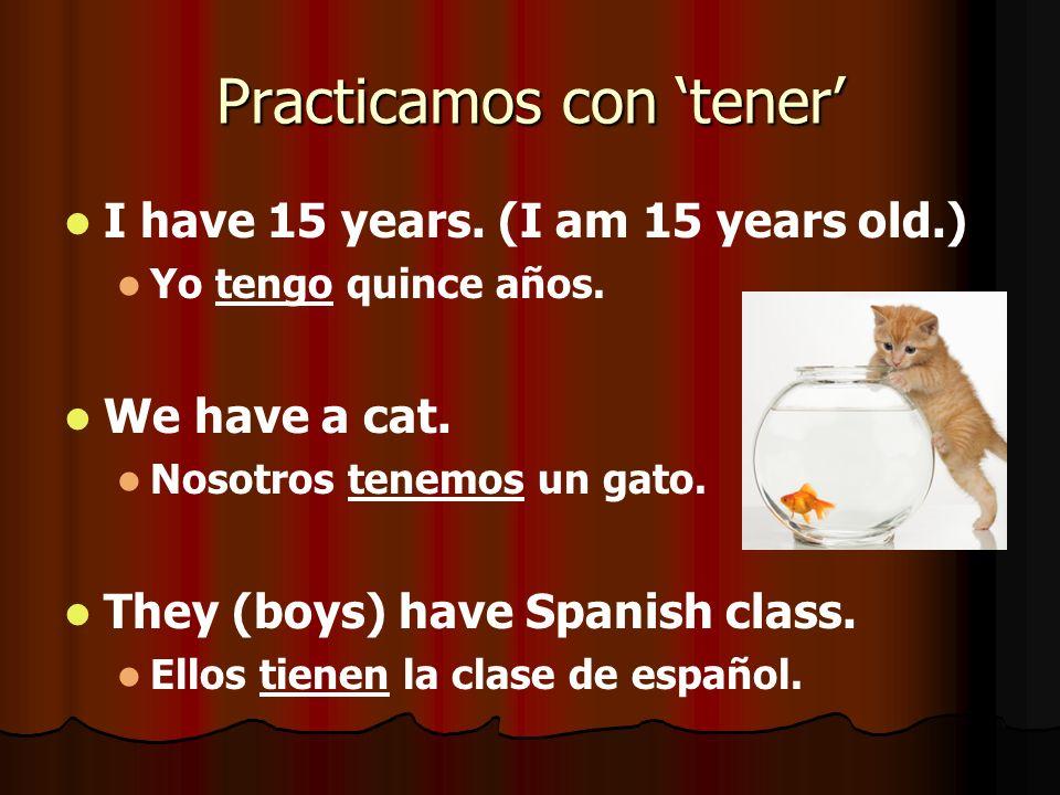 Practicamos con tener I have 15 years. (I am 15 years old.) Yo tengo quince años. We have a cat. Nosotros tenemos un gato. They (boys) have Spanish cl