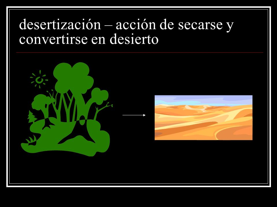 desertización – acción de secarse y convertirse en desierto