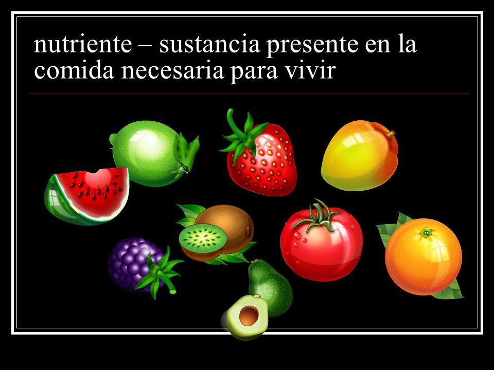 nutriente – sustancia presente en la comida necesaria para vivir
