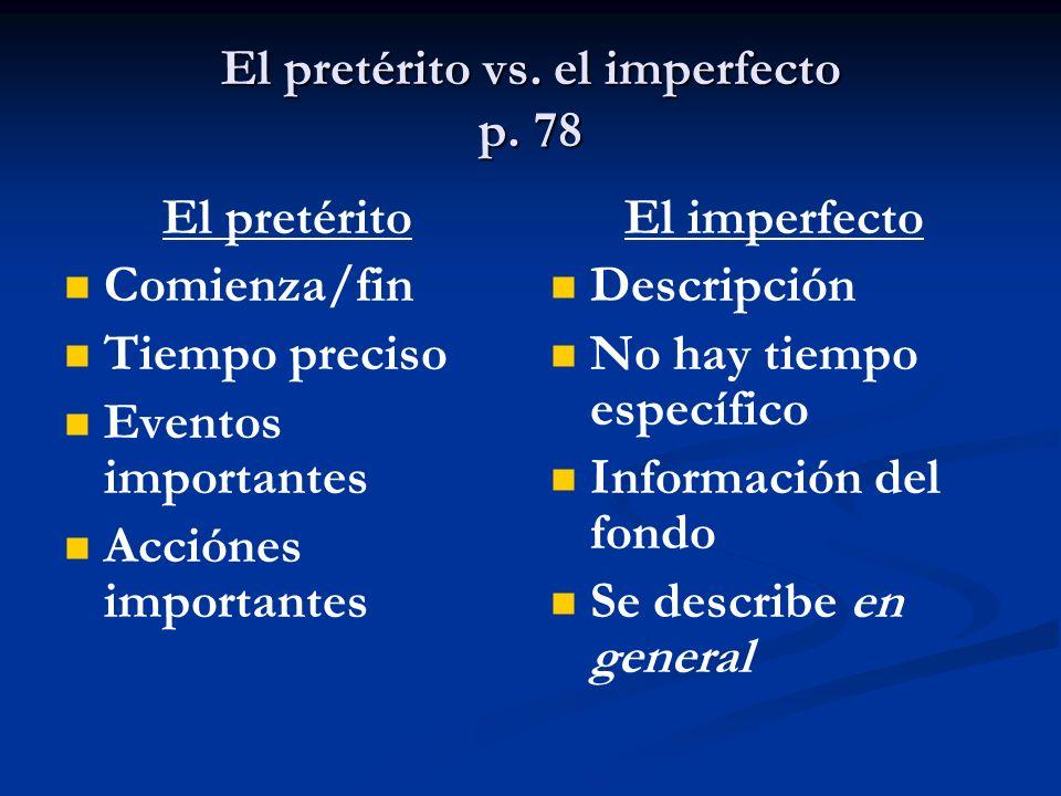 El pretérito vs. el imperfecto p.