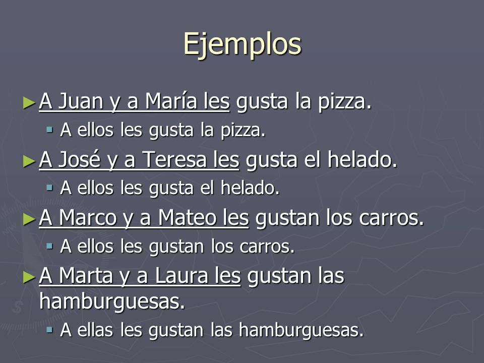 Ejemplos A Juan y a María les gusta la pizza. A Juan y a María les gusta la pizza.
