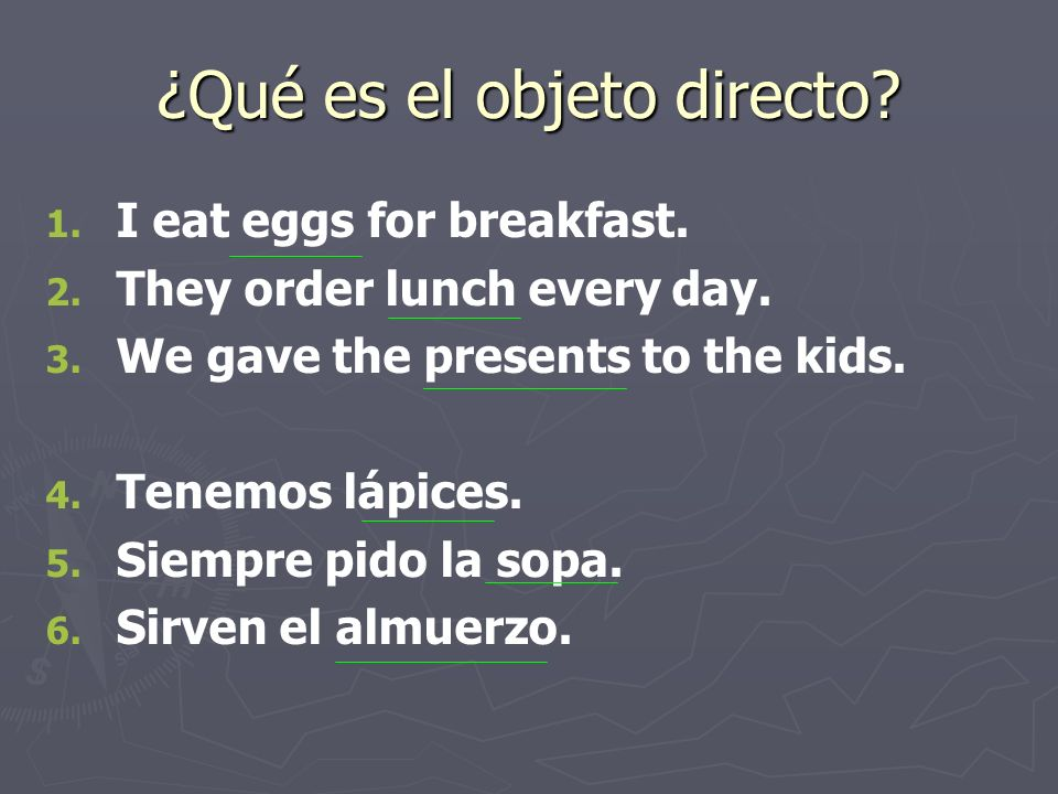 Direct Object Pronouns o o A direct object can be replaced by a pronoun to avoid repeating the noun.