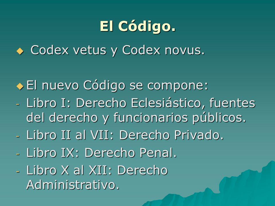 El Código. Codex vetus y Codex novus. Codex vetus y Codex novus. El nuevo Código se compone: El nuevo Código se compone: - Libro I: Derecho Eclesiásti