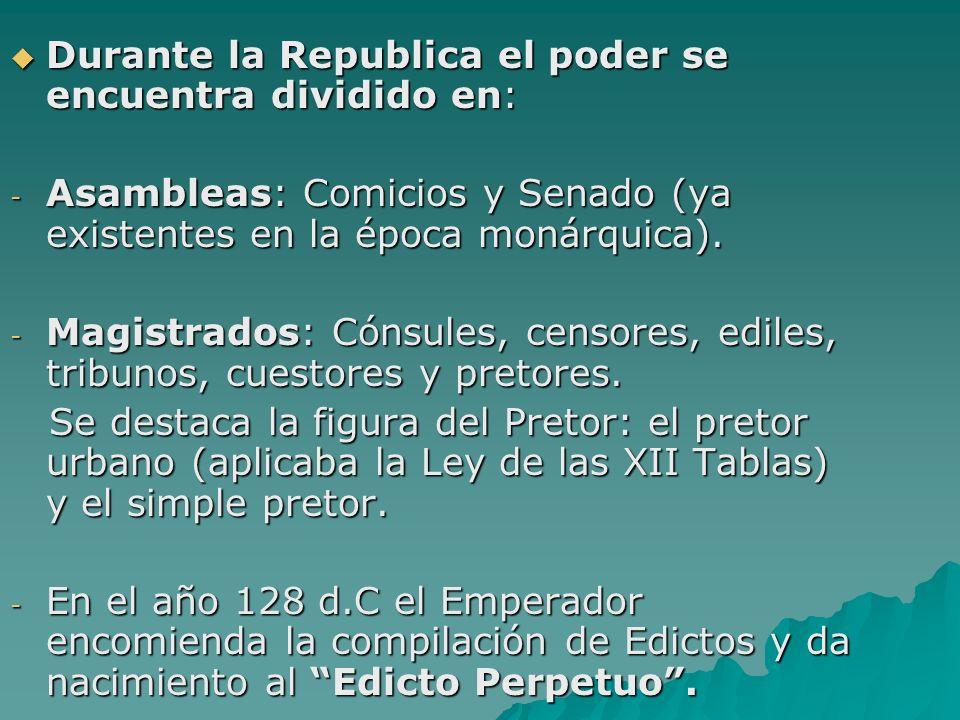 Durante la Republica el poder se encuentra dividido en: Durante la Republica el poder se encuentra dividido en: - Asambleas: Comicios y Senado (ya exi