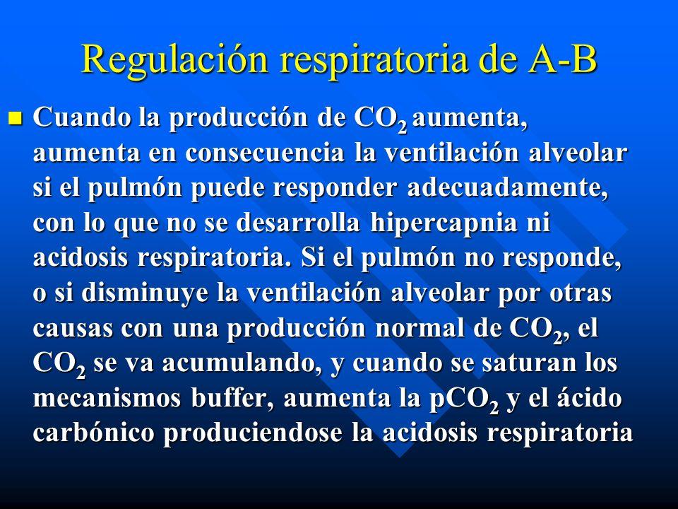 Regulación respiratoria de A-B El CO 2 tisular, procedente del metabolismo, se mueve hacia el plasma, donde tiene las siguientes posibilidades: El CO