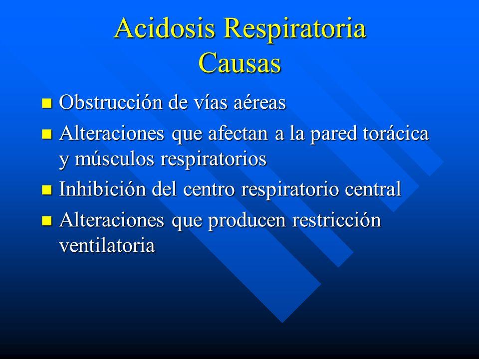 Acidosis Respiratoria Disminución del pH Disminución del pH Elevación en la pCO2 Elevación en la pCO2 Variable incremento en la concentración de bicar