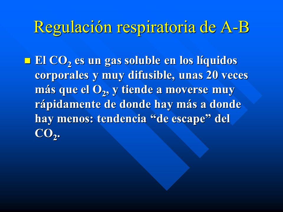 Regulación respiratoria de A-B El CO 2 es un gas soluble en los líquidos corporales y muy difusible, unas 20 veces más que el O 2, y tiende a moverse muy rápidamente de donde hay más a donde hay menos: tendencia de escape del CO 2.