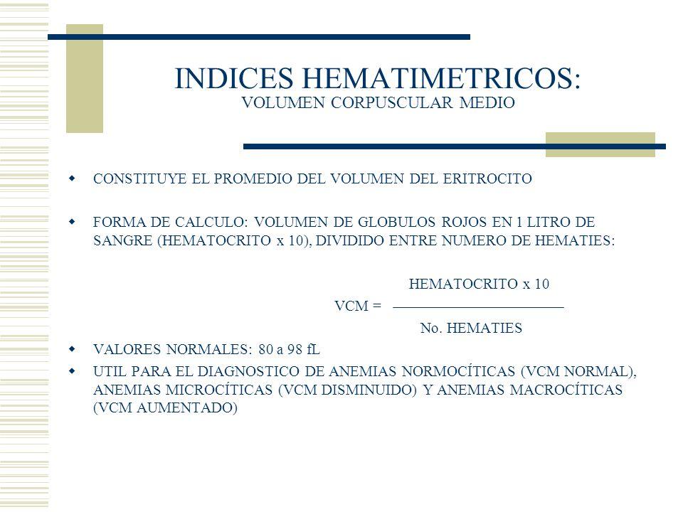 INDICES HEMATIMETRICOS: VOLUMEN CORPUSCULAR MEDIO CONSTITUYE EL PROMEDIO DEL VOLUMEN DEL ERITROCITO FORMA DE CALCULO: VOLUMEN DE GLOBULOS ROJOS EN 1 L