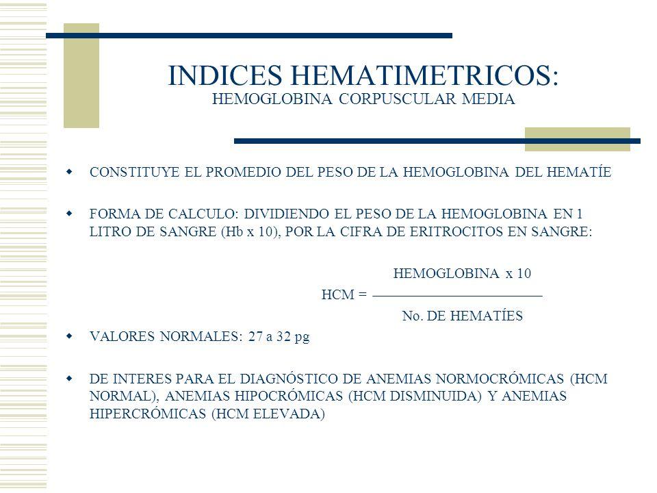 INDICES HEMATIMETRICOS: HEMOGLOBINA CORPUSCULAR MEDIA CONSTITUYE EL PROMEDIO DEL PESO DE LA HEMOGLOBINA DEL HEMATÍE FORMA DE CALCULO: DIVIDIENDO EL PE