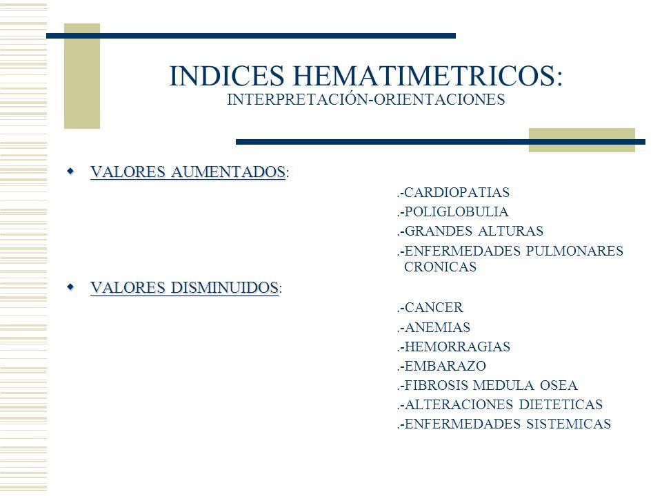 INDICES HEMATIMETRICOS: INTERPRETACIÓN-ORIENTACIONES VALORES AUMENTADOS VALORES AUMENTADOS :.- CARDIOPATIAS.-POLIGLOBULIA.-GRANDES ALTURAS.-ENFERMEDAD