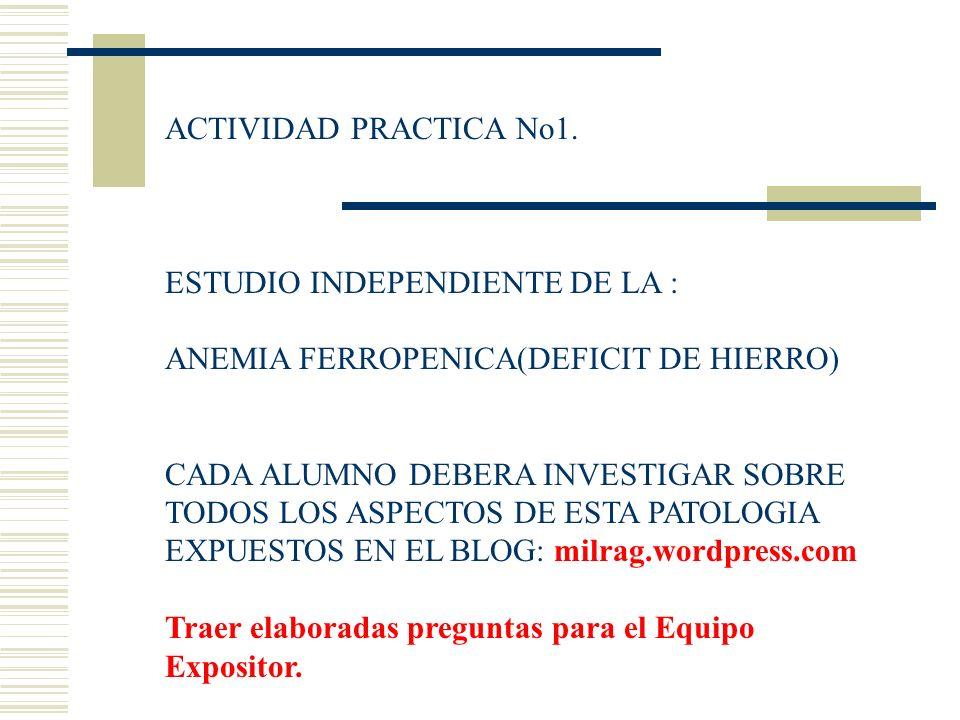 ACTIVIDAD PRACTICA No1. ESTUDIO INDEPENDIENTE DE LA : ANEMIA FERROPENICA(DEFICIT DE HIERRO) CADA ALUMNO DEBERA INVESTIGAR SOBRE TODOS LOS ASPECTOS DE