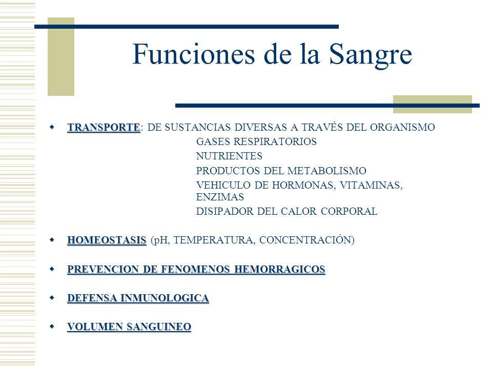 Funciones de la Sangre TRANSPORTE TRANSPORTE: DE SUSTANCIAS DIVERSAS A TRAVÉS DEL ORGANISMO GASES RESPIRATORIOS NUTRIENTES PRODUCTOS DEL METABOLISMO V