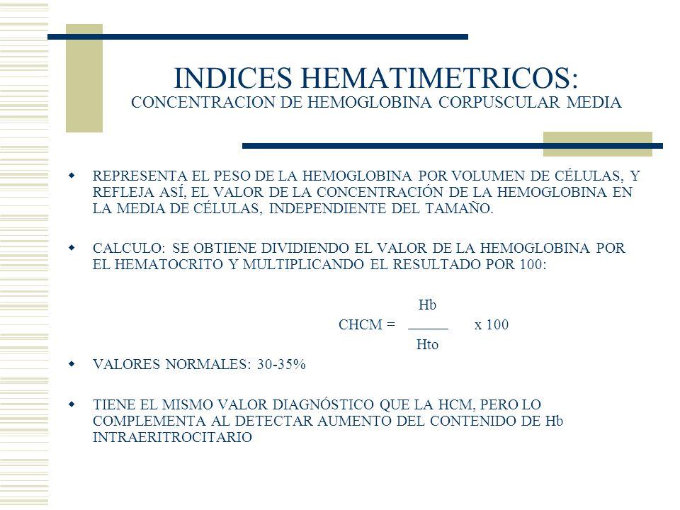 INDICES HEMATIMETRICOS: CONCENTRACION DE HEMOGLOBINA CORPUSCULAR MEDIA REPRESENTA EL PESO DE LA HEMOGLOBINA POR VOLUMEN DE CÉLULAS, Y REFLEJA ASÍ, EL
