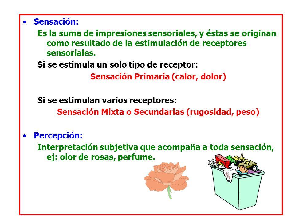 Sensación: Es la suma de impresiones sensoriales, y éstas se originan como resultado de la estimulación de receptores sensoriales.
