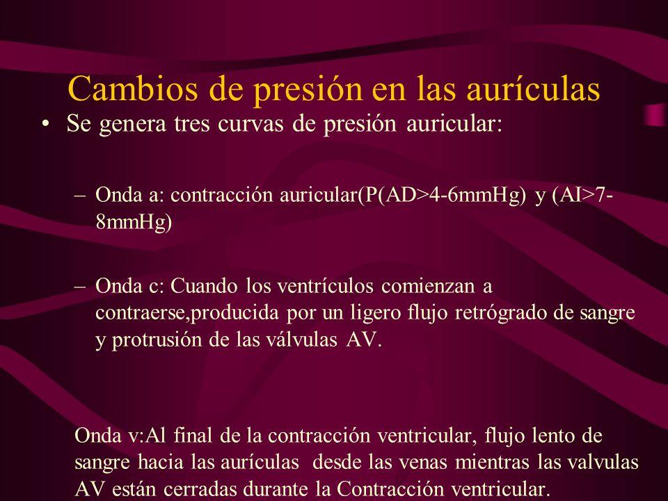 Cambios de presión en las aurículas Se genera tres curvas de presión auricular: –Onda a: contracción auricular(P(AD>4-6mmHg) y (AI>7- 8mmHg) –Onda c: