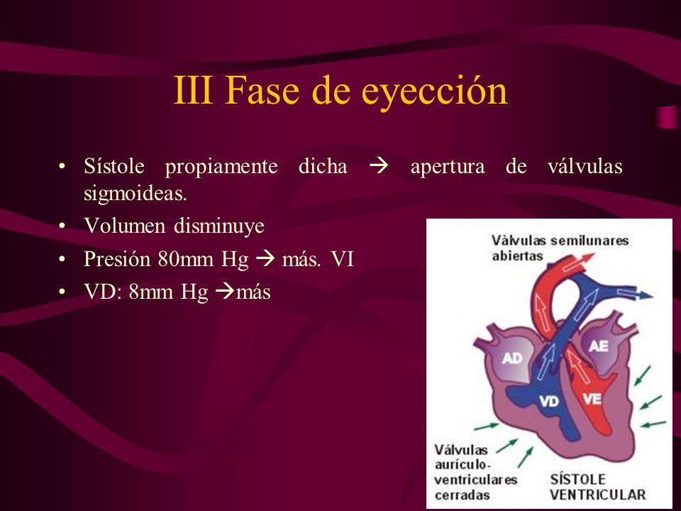 III Fase de eyección Sístole propiamente dicha apertura de válvulas sigmoideas. Volumen disminuye Presión 80mm Hg más. VI VD: 8mm Hg más