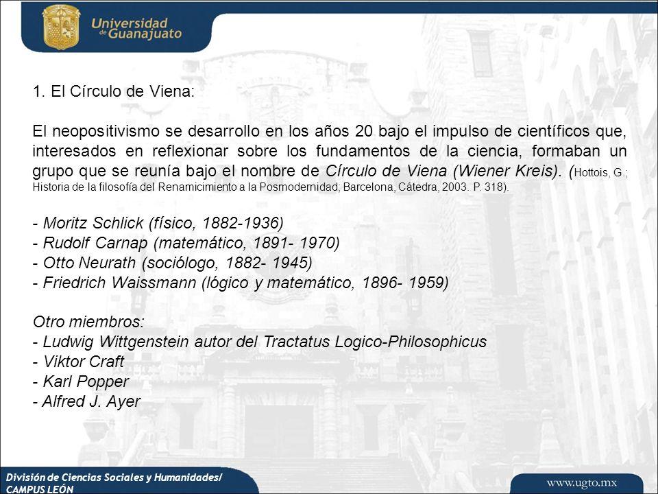 División de Ciencias Sociales y Humanidades/ CAMPUS LEÓN 1. El Círculo de Viena: El neopositivismo se desarrollo en los años 20 bajo el impulso de cie
