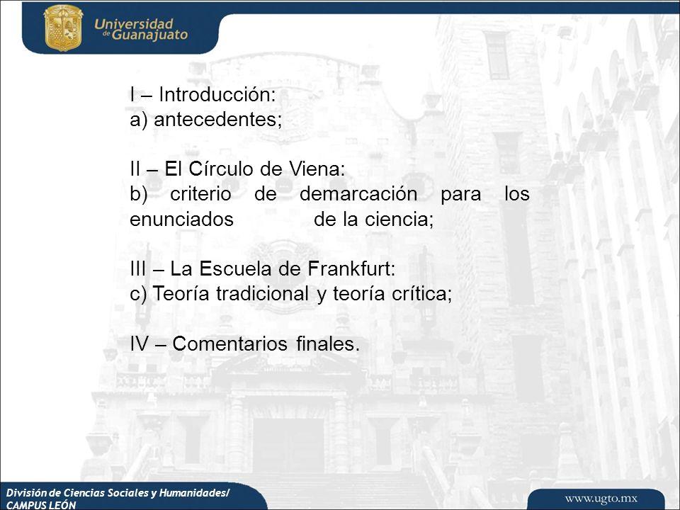 División de Ciencias Sociales y Humanidades/ CAMPUS LEÓN I – Introducción: a) antecedentes; II – El Círculo de Viena: b) criterio de demarcación para