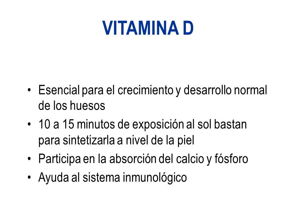 VITAMINA D Esencial para el crecimiento y desarrollo normal de los huesos 10 a 15 minutos de exposición al sol bastan para sintetizarla a nivel de la piel Participa en la absorción del calcio y fósforo Ayuda al sistema inmunológico