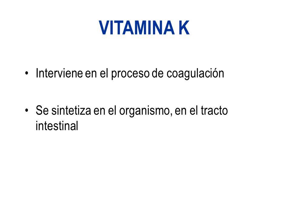 VITAMINA K Interviene en el proceso de coagulación Se sintetiza en el organismo, en el tracto intestinal