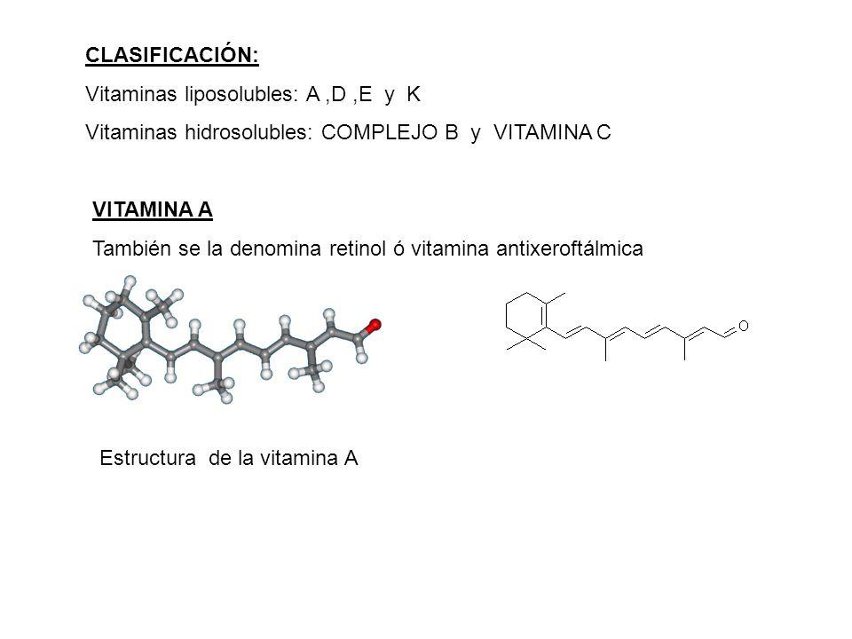 CLASIFICACIÓN: Vitaminas liposolubles: A,D,E y K Vitaminas hidrosolubles: COMPLEJO B y VITAMINA C VITAMINA A También se la denomina retinol ó vitamina antixeroftálmica Estructura de la vitamina A