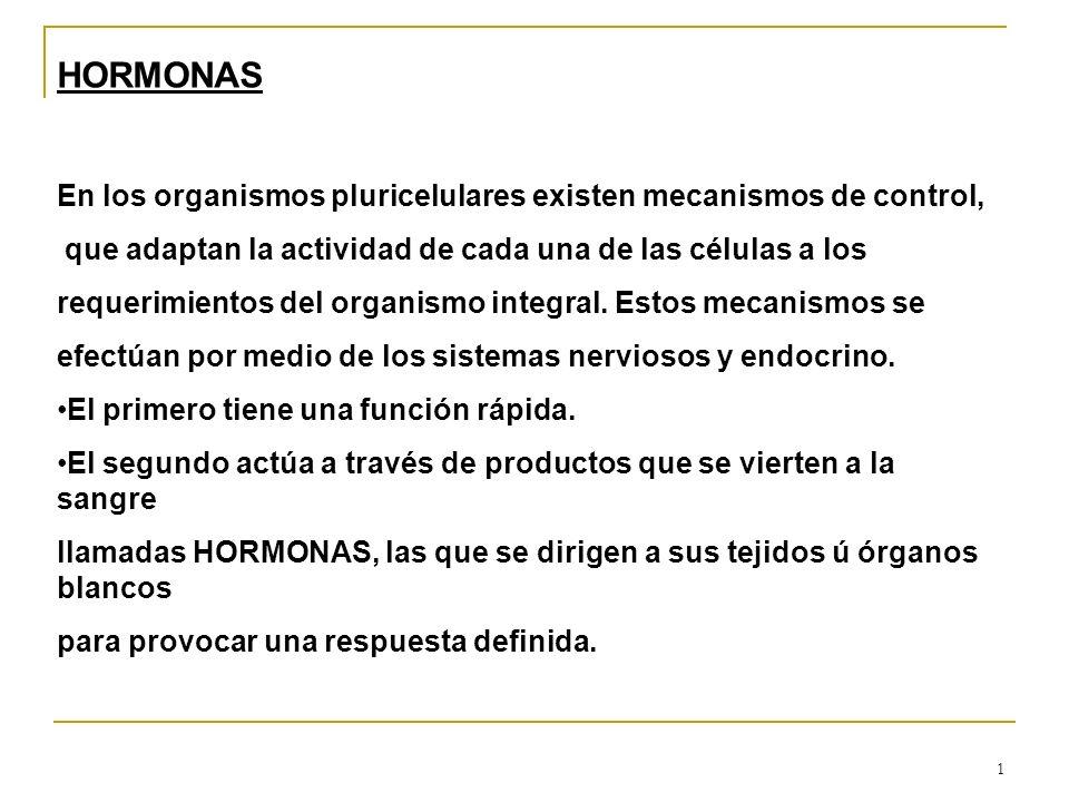 1 HORMONAS En los organismos pluricelulares existen mecanismos de control, que adaptan la actividad de cada una de las células a los requerimientos de