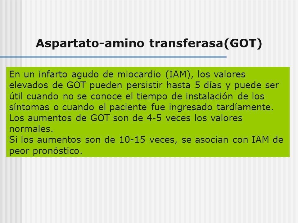 Aspartato-amino transferasa(GOT) En un infarto agudo de miocardio (IAM), los valores elevados de GOT pueden persistir hasta 5 días y puede ser útil cu