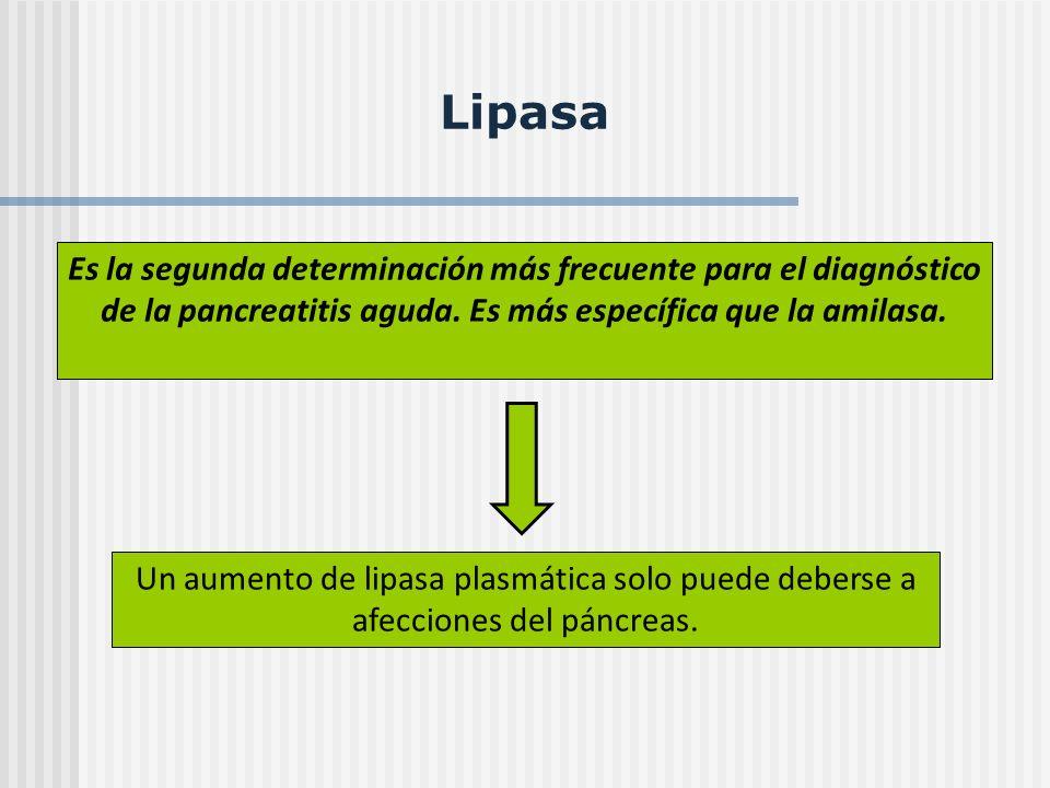 Lipasa Es la segunda determinación más frecuente para el diagnóstico de la pancreatitis aguda. Es más específica que la amilasa. Un aumento de lipasa