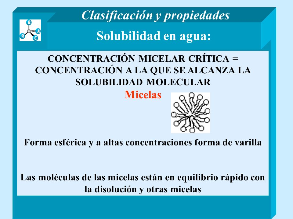 Solubilidad en agua: CONCENTRACIÓN MICELAR CRÍTICA = CONCENTRACIÓN A LA QUE SE ALCANZA LA SOLUBILIDAD MOLECULAR Micelas Forma esférica y a altas conce
