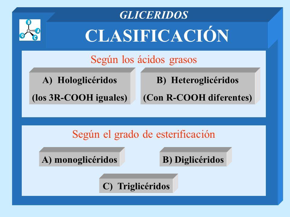CLASIFICACIÓN GLICERIDOS Según los ácidos grasos Según el grado de esterificación A) Hologlicéridos (los 3R-COOH iguales) B) Heteroglicéridos (Con R-C
