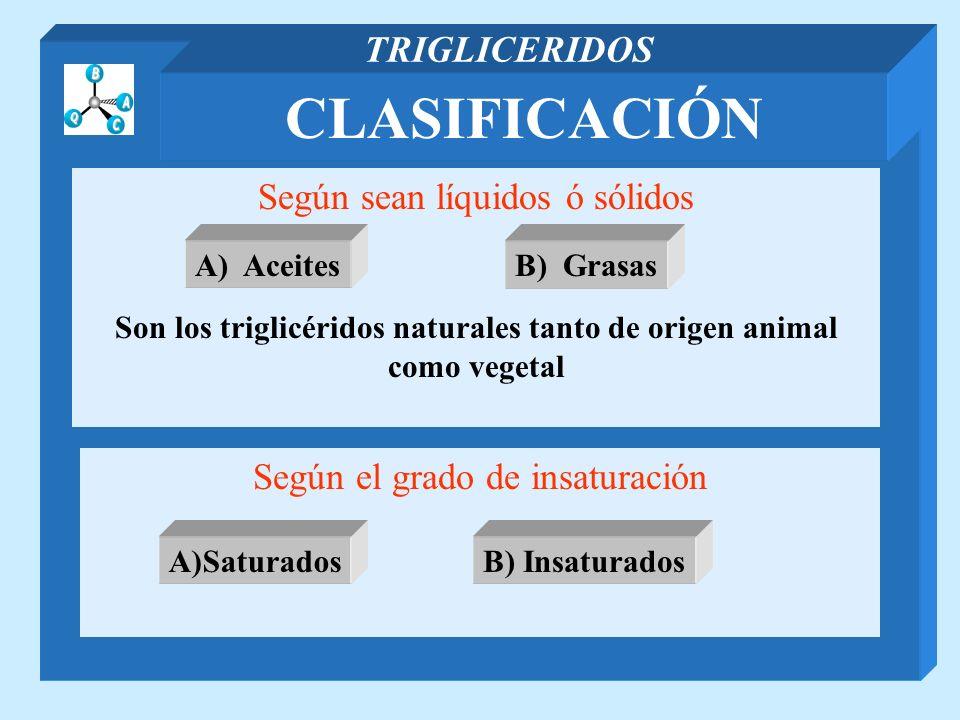 CLASIFICACIÓN TRIGLICERIDOS Según sean líquidos ó sólidos Son los triglicéridos naturales tanto de origen animal como vegetal Según el grado de insatu