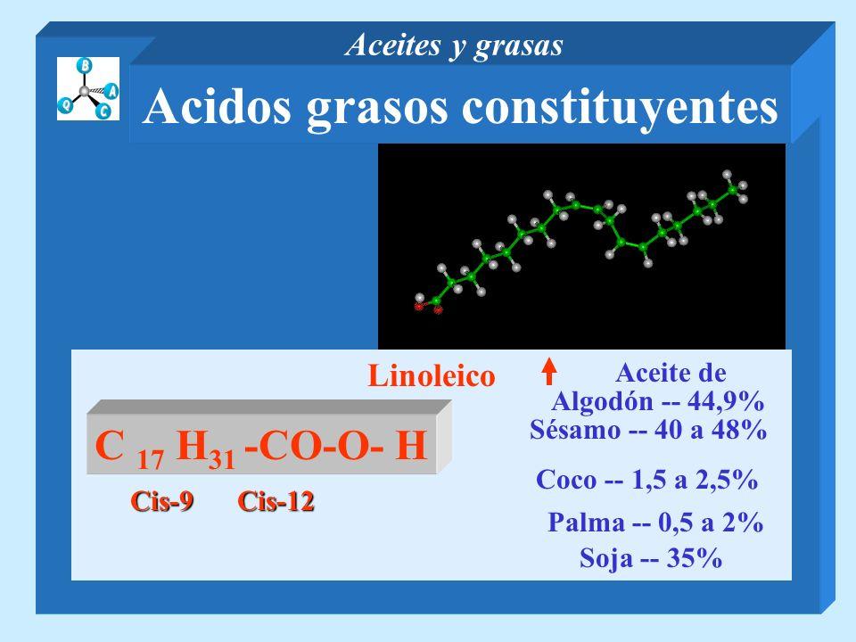 Linoleico Palma -- 0,5 a 2% Coco -- 1,5 a 2,5% C 17 H 31 -CO-O- H Algodón -- 44,9% Aceite de Sésamo -- 40 a 48% Cis-9 Soja -- 35% Cis-12 Acidos grasos