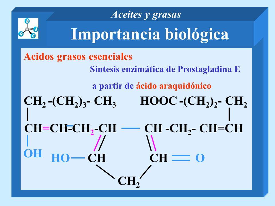 Importancia biológica Aceites y grasas Acidos grasos esenciales Síntesis enzimática de Prostagladina E a partir de ácido araquidónico CH=CH-CH 2 -CH C