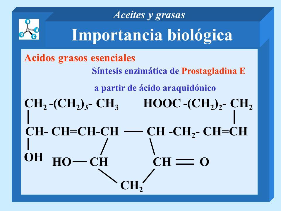 Importancia biológica Aceites y grasas Acidos grasos esenciales Síntesis enzimática de Prostagladina E a partir de ácido araquidónico CH- CH=CH-CH CH