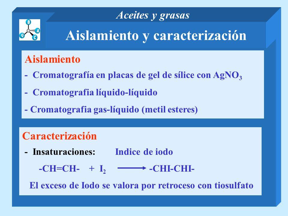 Aislamiento y caracterización Aceites y grasas Aislamiento - Cromatografía en placas de gel de sílice con AgNO 3 - Cromatografia líquido-líquido - Cro