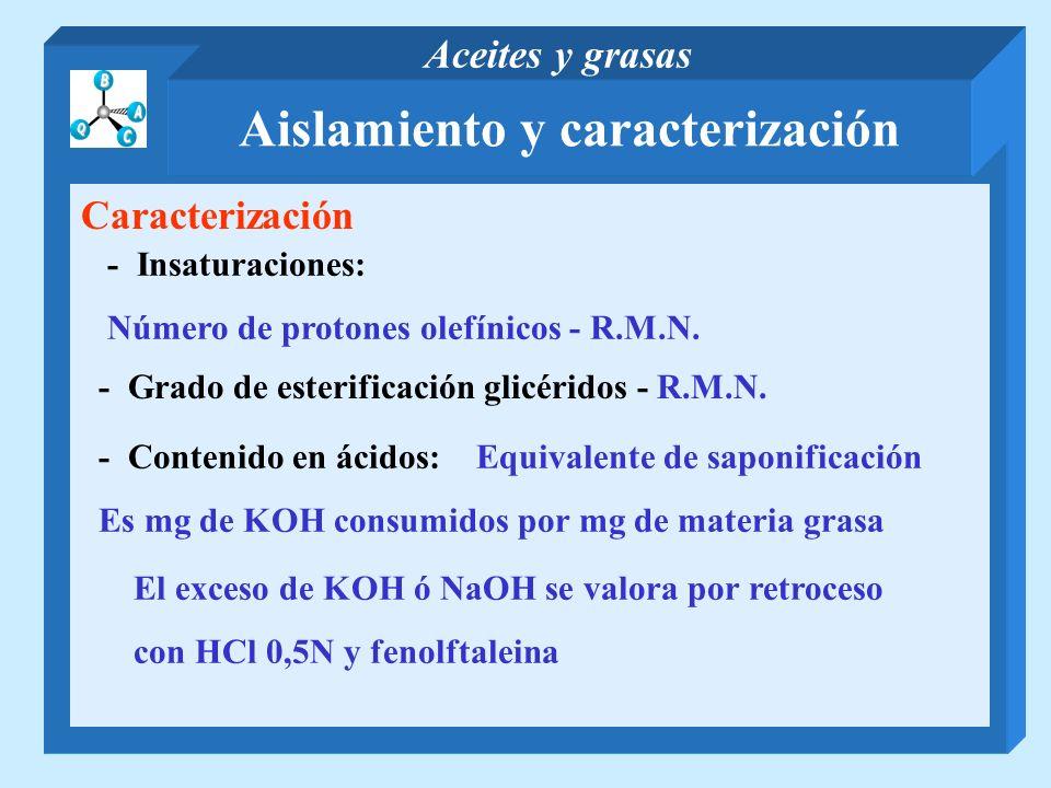 Caracterización - Insaturaciones: Número de protones olefínicos - R.M.N. - Grado de esterificación glicéridos - R.M.N. - Contenido en ácidos: Equivale