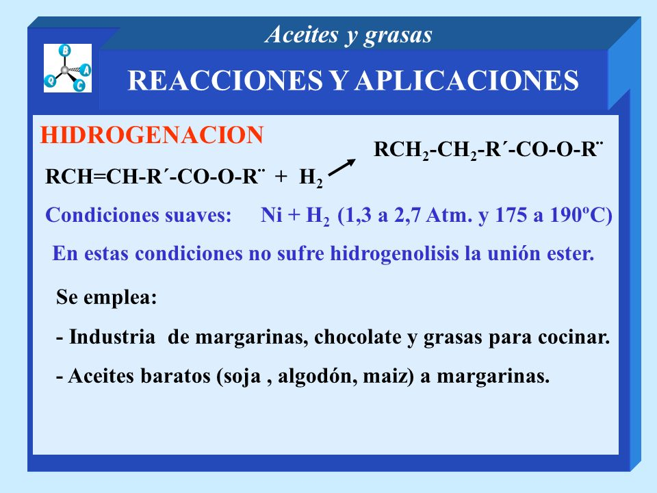 REACCIONES Y APLICACIONES Aceites y grasas HIDROGENACION RCH=CH-R´-CO-O-R¨ + H 2 Condiciones suaves: Ni + H 2 (1,3 a 2,7 Atm. y 175 a 190ºC) En estas